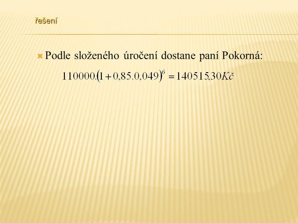 řešení  Podle složeného úročení dostane paní Pokorná: