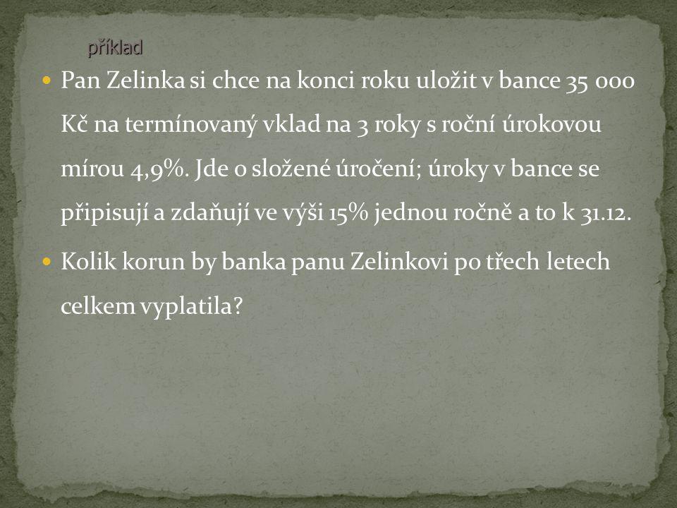 Pan Zelinka si chce na konci roku uložit v bance 35 000 Kč na termínovaný vklad na 3 roky s roční úrokovou mírou 4,9%. Jde o složené úročení; úroky v
