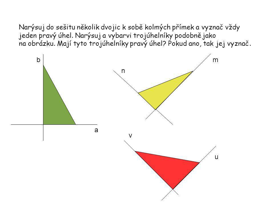Narýsuj do sešitu několik dvojic k sobě kolmých přímek a vyznač vždy jeden pravý úhel. Narýsuj a vybarvi trojúhelníky podobně jako na obrázku. Mají ty