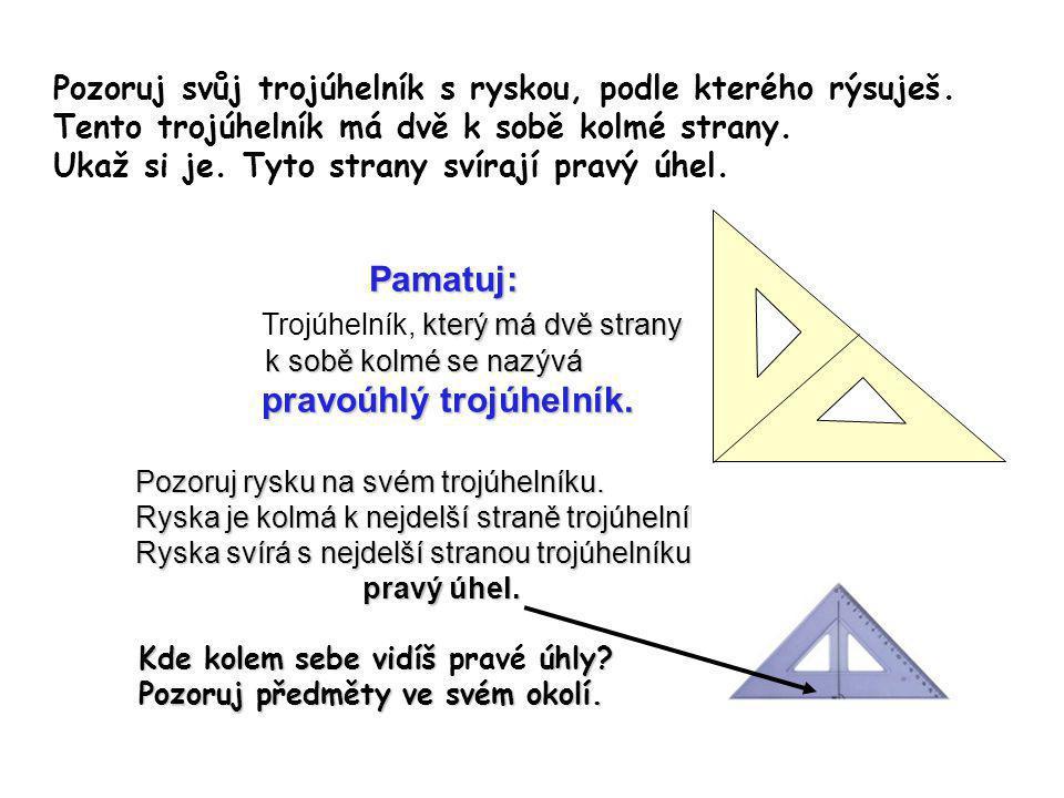 Pozoruj svůj trojúhelník s ryskou, podle kterého rýsuješ. Tento trojúhelník má dvě k sobě kolmé strany. Ukaž si je. Tyto strany svírají pravý úhel. Pa
