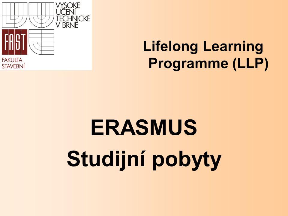 Základní informace ERASMUS studium student musí mít ukončený minimálně první ročník VŠ studia student musí být zapsán do akreditovaného Bc., Mgr.