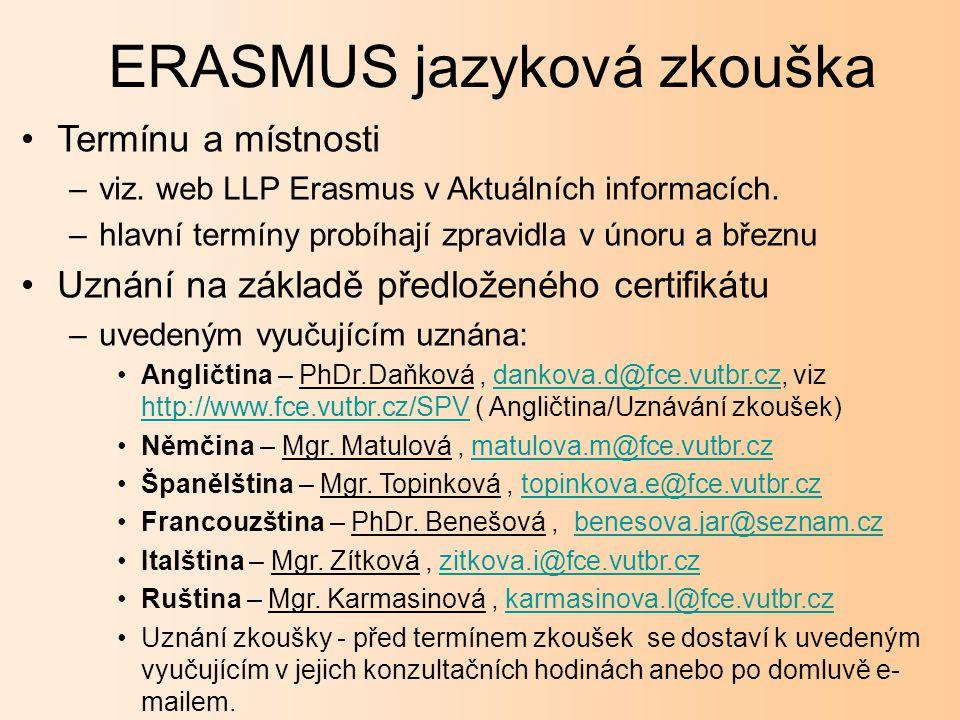 ERASMUS jazyková zkouška Termínu a místnosti –viz.