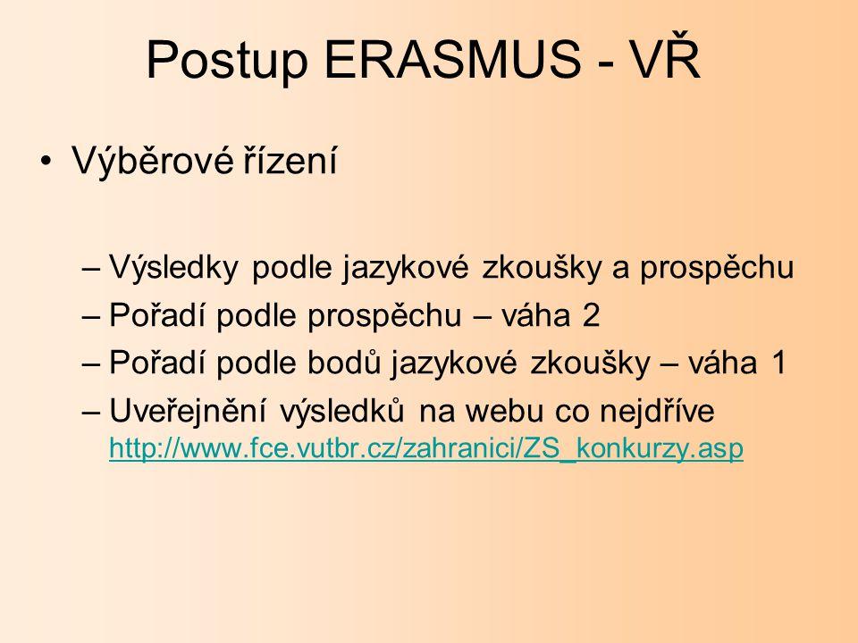 ERASMUS jazyková zkouška Písemný test (60 min.) Ústní zkouška (několikaminutová konverzace v rámci obecného jazyka).