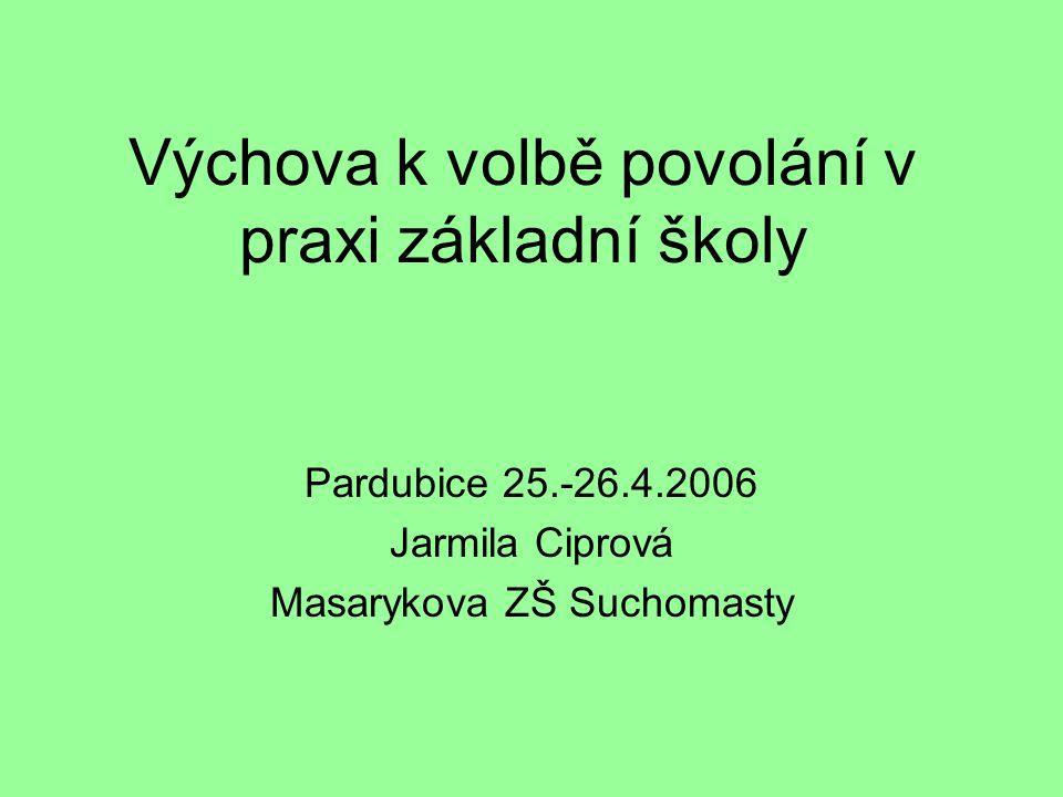 Výchova k volbě povolání v praxi základní školy Pardubice 25.-26.4.2006 Jarmila Ciprová Masarykova ZŠ Suchomasty