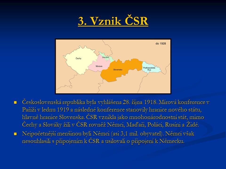 3. Vznik ČSR Československá republika byla vyhlášena 28. října 1918. Mírová konference v Paříži v lednu 1919 a následné konference stanovily hranice n