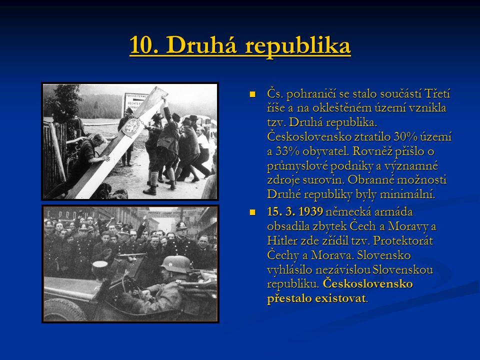 10. Druhá republika Čs. pohraničí se stalo součástí Třetí říše a na okleštěném území vznikla tzv. Druhá republika. Československo ztratilo 30% území a