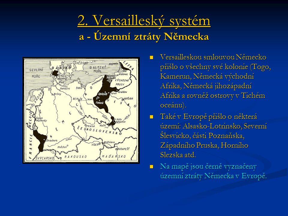 2. Versailleský systém a - Územní ztráty Německa Versailleskou smlouvou Německo přišlo o všechny své kolonie (Togo, Kamerun, Německá východní Afrika,