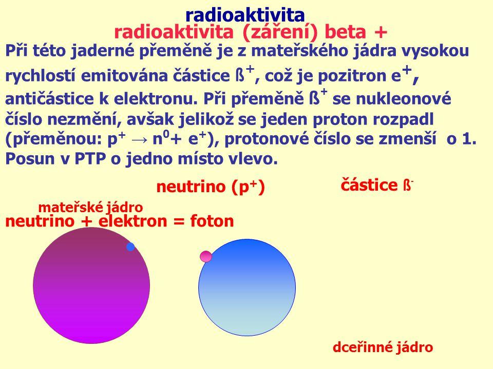 radioaktivita mateřské jádro dceřinné jádro radioaktivita (záření) beta + částice ß - neutrino (p + ) Při této jaderné přeměně je z mateřského jádra v