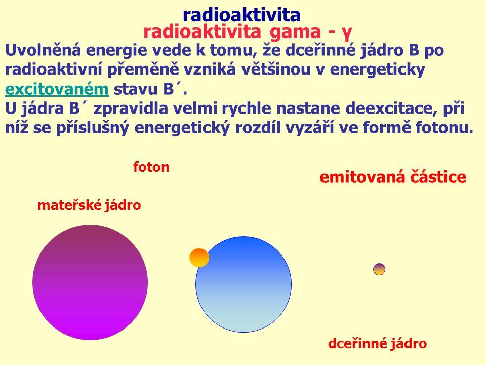 radioaktivita radioaktivita gama - γ Uvolněná energie vede k tomu, že dceřinné jádro B po radioaktivní přeměně vzniká většinou v energeticky excitovan