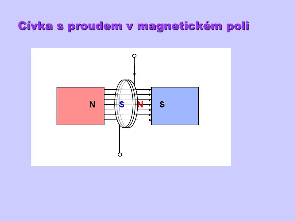 Cívka s proudem v magnetickém poli A + NSNS
