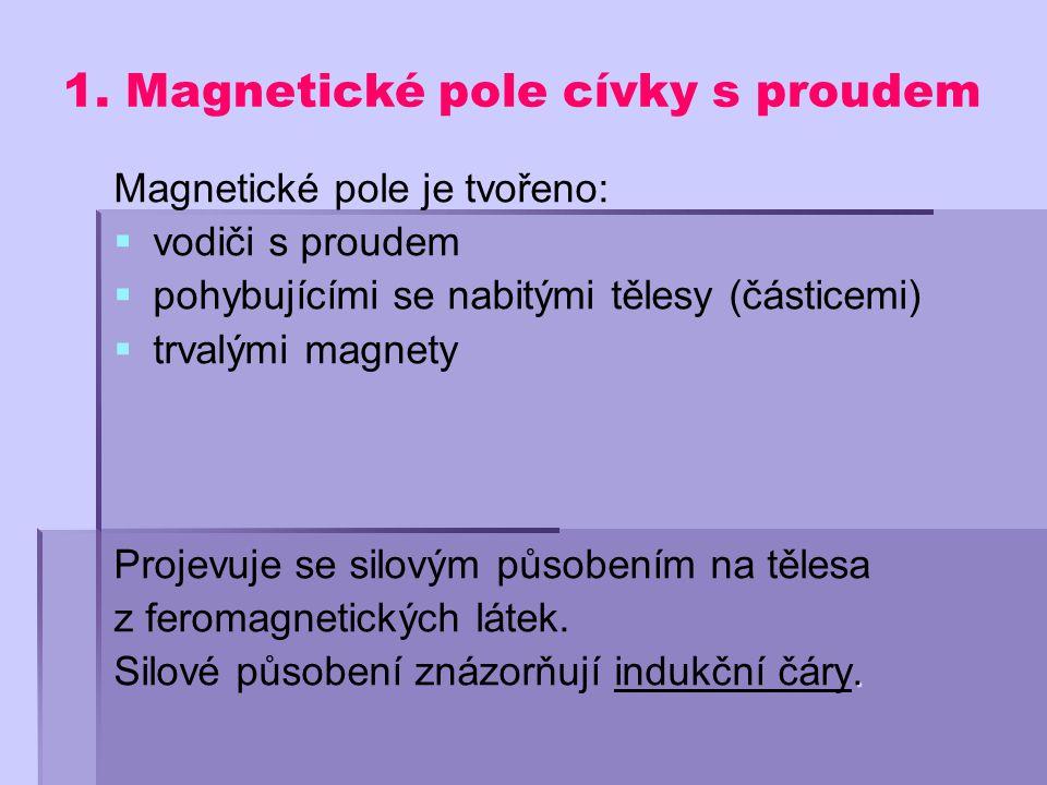 1. Magnetické pole cívky s proudem Magnetické pole je tvořeno:   vodiči s proudem   pohybujícími se nabitými tělesy (částicemi)   trvalými magne
