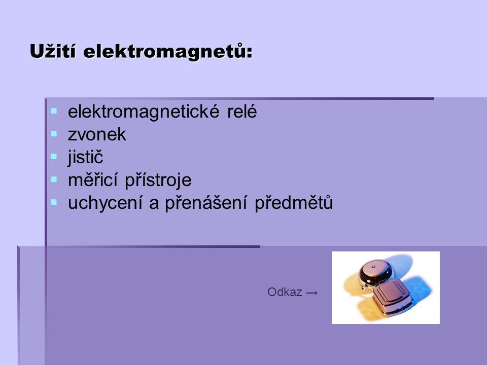   elektromagnetické relé   zvonek   jistič   měřicí přístroje   uchycení a přenášení předmětů Odkaz → Užití elektromagnetů:
