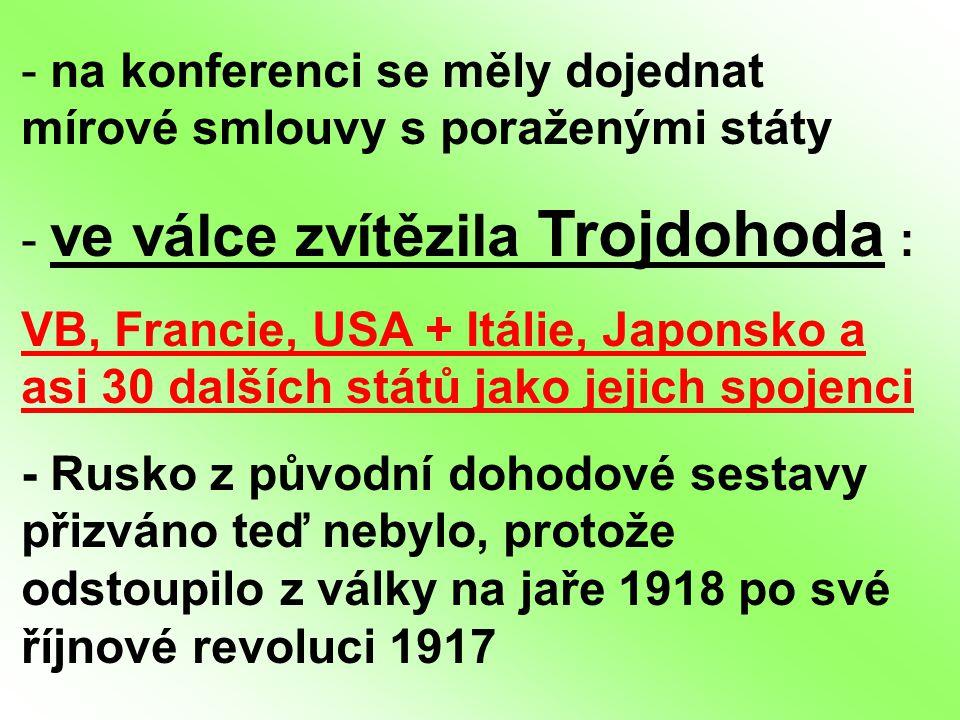 - na konferenci se měly dojednat mírové smlouvy s poraženými státy - ve válce zvítězila Trojdohoda : VB, Francie, USA + Itálie, Japonsko a asi 30 dalš