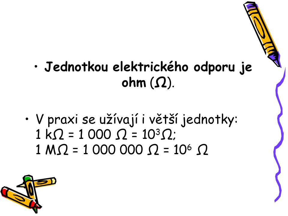 Jednotkou elektrického odporu je ohm (Ω).