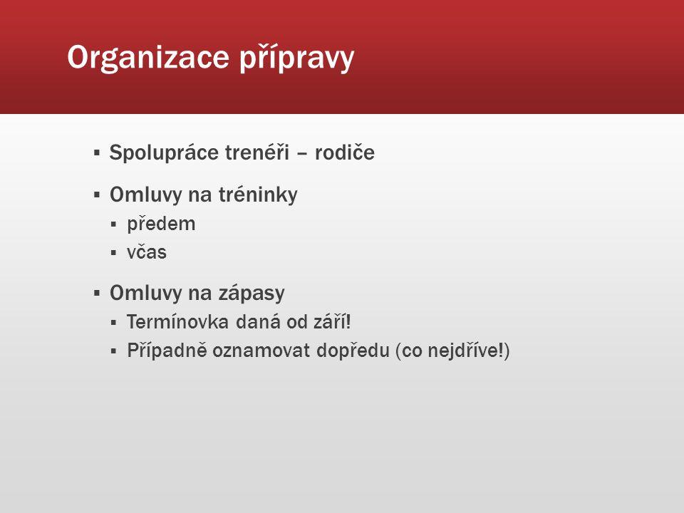 Organizace přípravy  Spolupráce trenéři – rodiče  Omluvy na tréninky  předem  včas  Omluvy na zápasy  Termínovka daná od září.