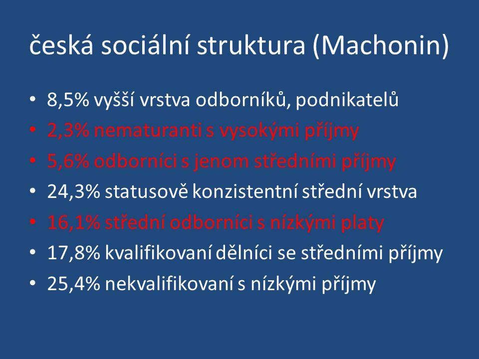 česká sociální struktura (Machonin) 8,5% vyšší vrstva odborníků, podnikatelů 2,3% nematuranti s vysokými příjmy 5,6% odborníci s jenom středními příjmy 24,3% statusově konzistentní střední vrstva 16,1% střední odborníci s nízkými platy 17,8% kvalifikovaní dělníci se středními příjmy 25,4% nekvalifikovaní s nízkými příjmy
