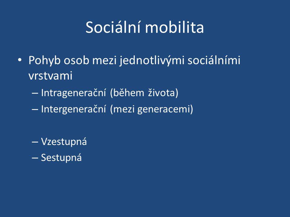 Sociální mobilita Pohyb osob mezi jednotlivými sociálními vrstvami – Intragenerační (během života) – Intergenerační (mezi generacemi) – Vzestupná – Sestupná