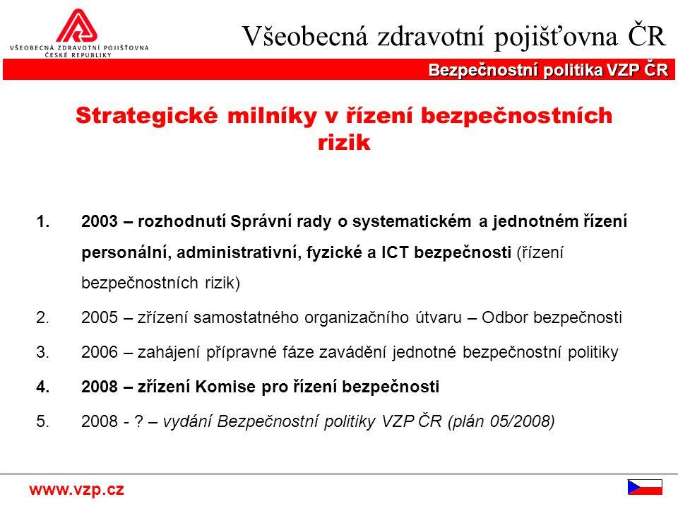 Všeobecná zdravotní pojišťovna ČR Bezpečnostní politika VZP ČR www.vzp.cz Strategické milníky v řízení bezpečnostních rizik 1.2003 – rozhodnutí Správn