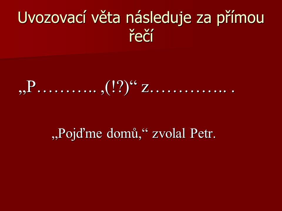 """Uvozovací věta následuje za přímou řečí """"P………..,(!?) z…………..."""