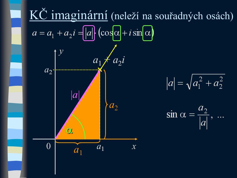 KČ imaginární (neleží na souřadných osách) y x 0 a 1 + a 2 i a1a1 a2a2 |a||a| a1a1 a2a2 