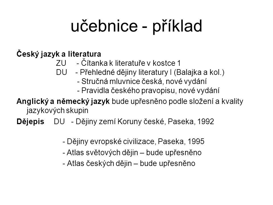 učebnice - příklad Český jazyk a literatura ZU - Čítanka k literatuře v kostce 1 DU - Přehledné dějiny literatury I (Balajka a kol.) - Stručná mluvnic
