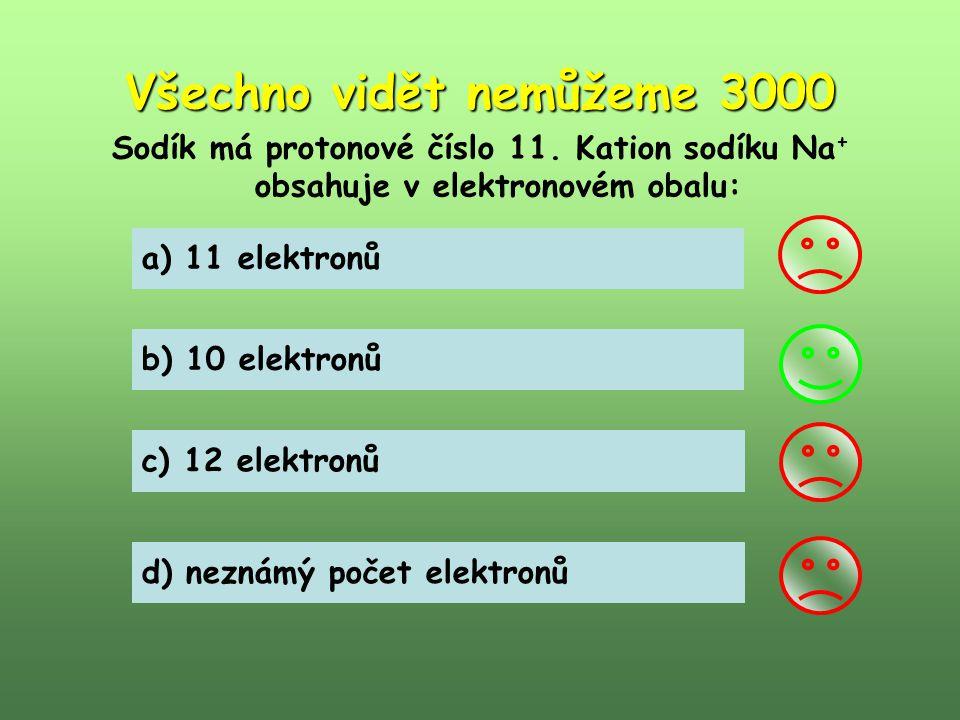 Všechno vidět nemůžeme 3000 Sodík má protonové číslo 11. Kation sodíku Na + obsahuje v elektronovém obalu: a) 11 elektronů b) 10 elektronů c) 12 elekt