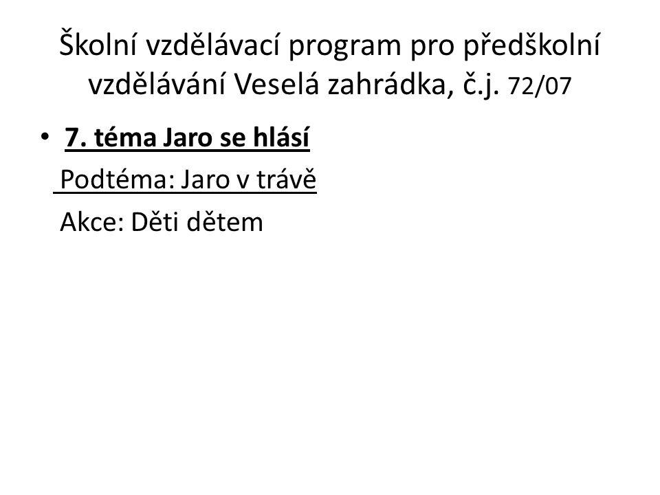 Školní vzdělávací program pro předškolní vzdělávání Veselá zahrádka, č.j.