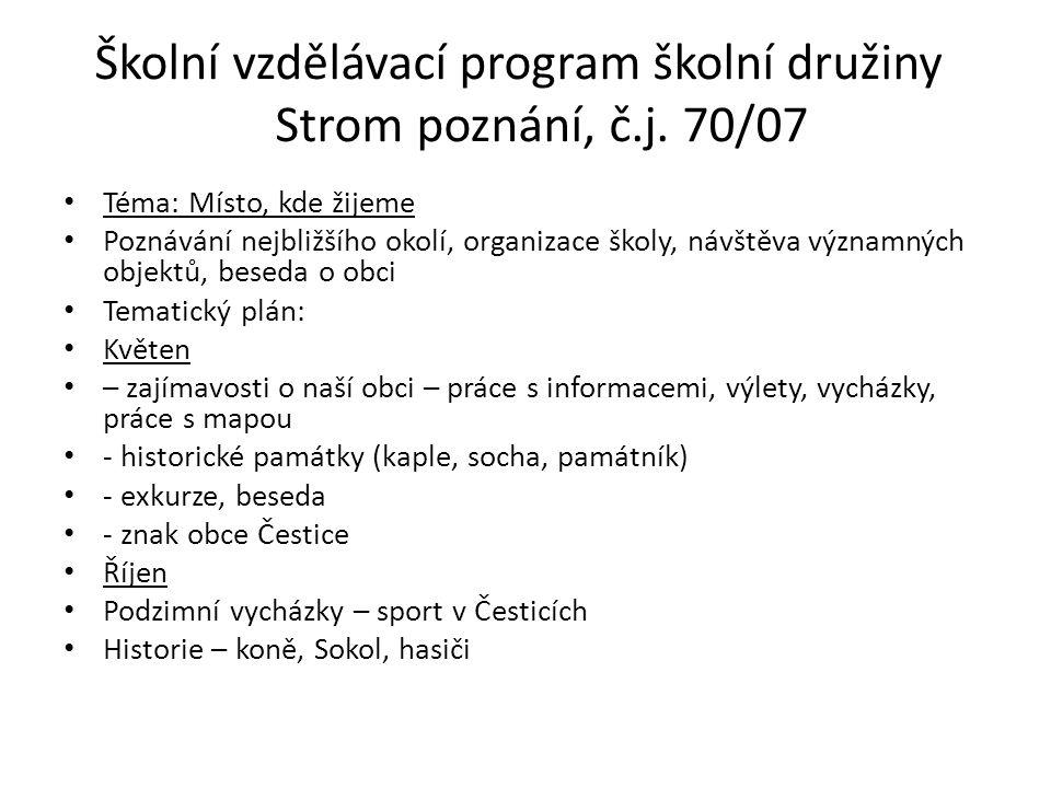 Školní vzdělávací program školní družiny Strom poznání, č.j.