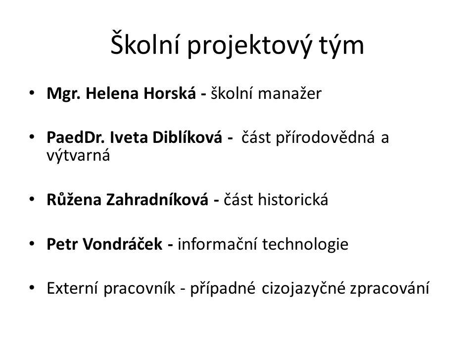 Školní projektový tým Mgr. Helena Horská - školní manažer PaedDr.