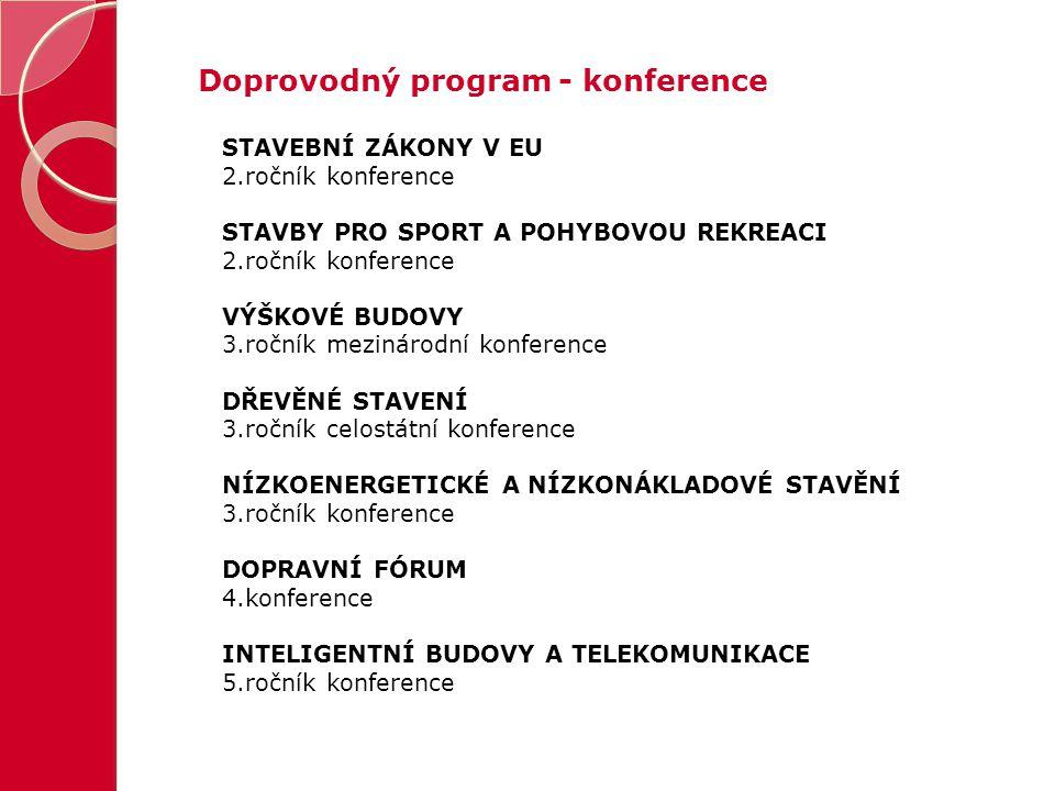 Doprovodný program - konference STAVEBNÍ ZÁKONY V EU 2.ročník konference STAVBY PRO SPORT A POHYBOVOU REKREACI 2.ročník konference VÝŠKOVÉ BUDOVY 3.ro