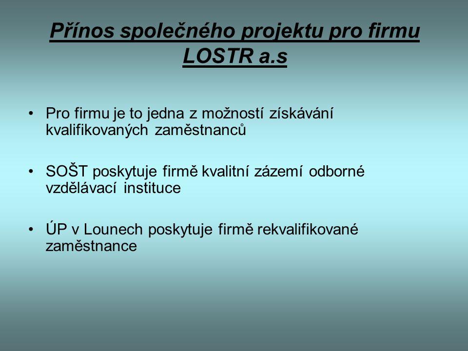 Přínos společného projektu pro firmu LOSTR a.s Pro firmu je to jedna z možností získávání kvalifikovaných zaměstnanců SOŠT poskytuje firmě kvalitní zá