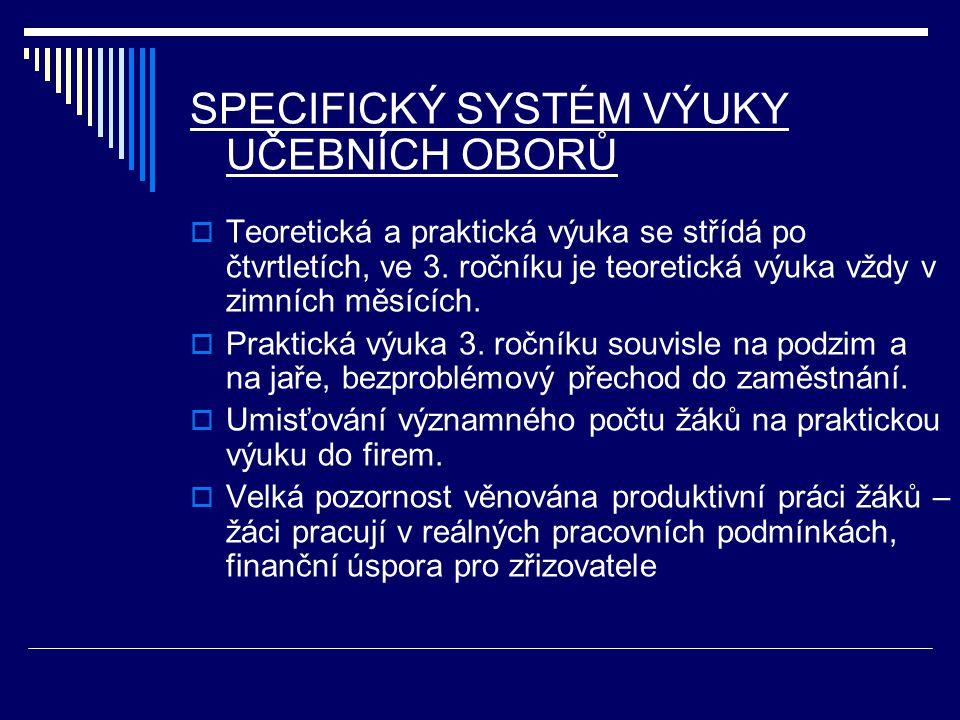SPECIFICKÝ SYSTÉM VÝUKY UČEBNÍCH OBORŮ  Teoretická a praktická výuka se střídá po čtvrtletích, ve 3.