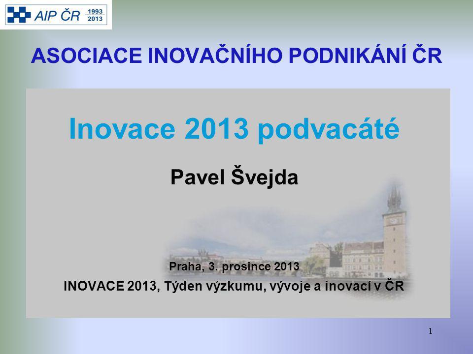 1 ASOCIACE INOVAČNÍHO PODNIKÁNÍ ČR Inovace 2013 podvacáté Pavel Švejda Praha, 3.