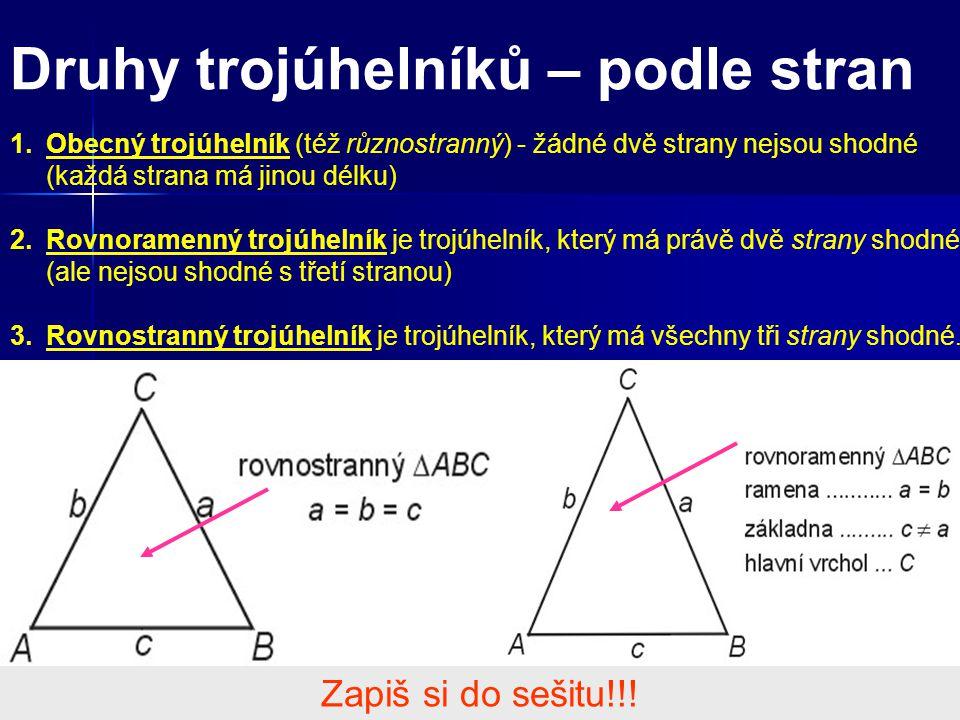 Druhy trojúhelníků – podle stran 1.Obecný trojúhelník (též různostranný) - žádné dvě strany nejsou shodné (každá strana má jinou délku) 2.Rovnoramenný