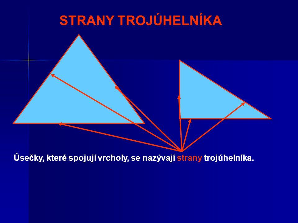 Úhly, které svírají strany, se nazývají vnitřní úhly trojúhelníka. VNITŘNÍ ÚHLY TROJÚHELNÍKA