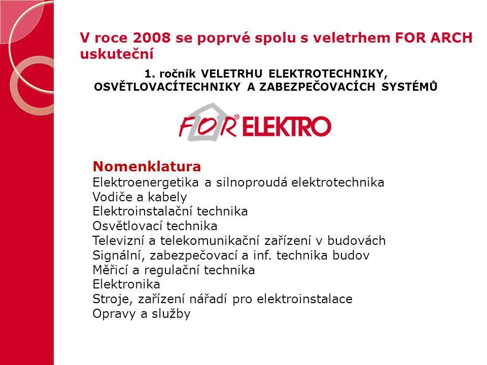 V roce 2008 se poprvé spolu s veletrhem FOR ARCH uskuteční 1. ročník VELETRHU ELEKTROTECHNIKY, OSVĚTLOVACÍTECHNIKY A ZABEZPEČOVACÍCH SYSTÉMŮ Nomenklat