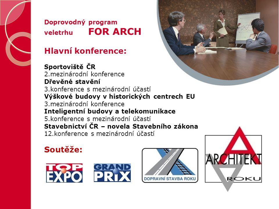 Doprovodný program veletrhu FOR ARCH Hlavní konference: Sportoviště ČR 2.mezinárodní konference Dřevěné stavění 3.konference s mezinárodní účastí Výšk