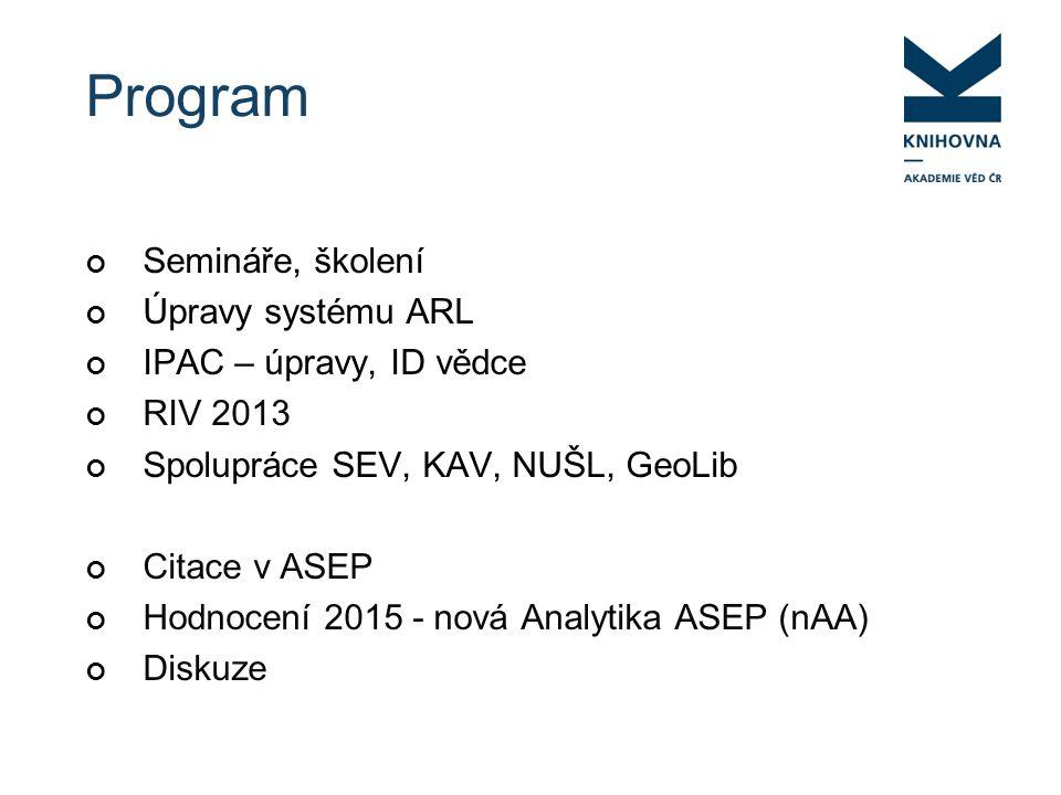 Program Semináře, školení Úpravy systému ARL IPAC – úpravy, ID vědce RIV 2013 Spolupráce SEV, KAV, NUŠL, GeoLib Citace v ASEP Hodnocení 2015 - nová Analytika ASEP (nAA) Diskuze