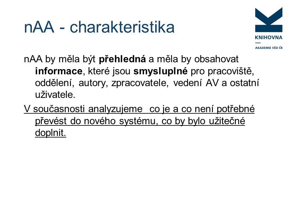 nAA - charakteristika nAA by měla být přehledná a měla by obsahovat informace, které jsou smysluplné pro pracoviště, oddělení, autory, zpracovatele, vedení AV a ostatní uživatele.