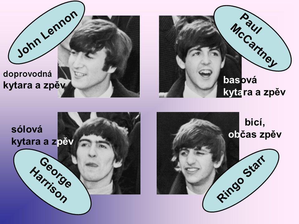 Dříve než se kapela ustálila: liverpoolský rockový život probíhal v hudebních klubech – nejslavnější kapela všech dob - The Beatles – vzešla z klubu JESKYNĚ – CAVERN 1955 – John Lennon zakládá skifflovou kapelu The Quarrymen 1956 – Lennon přivádí do této kapely Paula McCartneyho postupně se seznamují s rokenrolem a začínají hrát písně amerických rokenrolových hvězd 1959 – přichází - sólový kytarista George Harrison - baskytarista Stuart Sutcliff - bubeník Pete Best kapela stále mění název – nakonec se ustálil název The Beatles Pozn.: slovo beatles je slovní hříčka – zkomolenina dvou slov, která se stejně vyslovují, ale něco jiného znamenají: the beetle ~ brouk the beat ~ puls, tep, rytmus