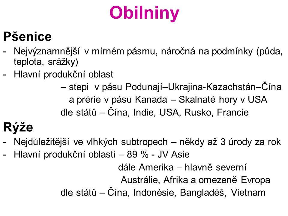 Obilniny Pšenice -Nejvýznamnější v mírném pásmu, náročná na podmínky (půda, teplota, srážky) -Hlavní produkční oblast – stepi v pásu Podunají–Ukrajina