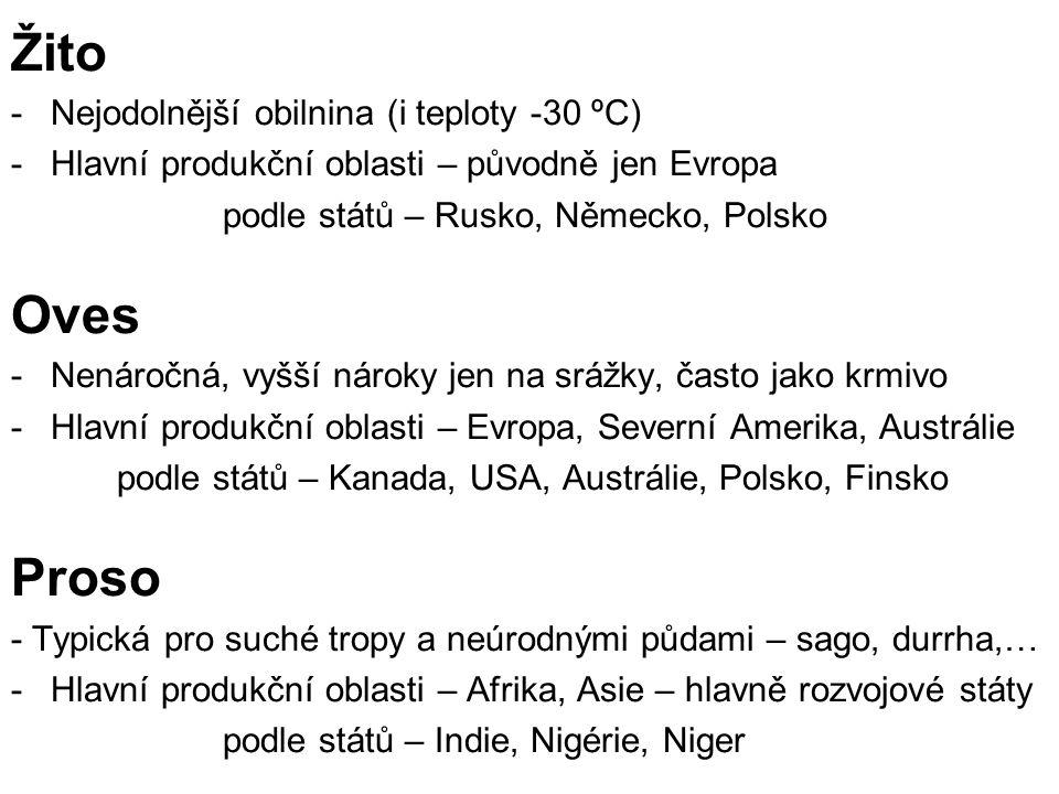 Žito -Nejodolnější obilnina (i teploty -30 ºC) -Hlavní produkční oblasti – původně jen Evropa podle států – Rusko, Německo, Polsko Oves -Nenáročná, vy