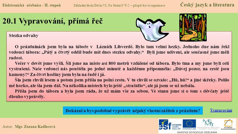 20.1 Vypravování, přímá řeč Elektronická učebnice - II.