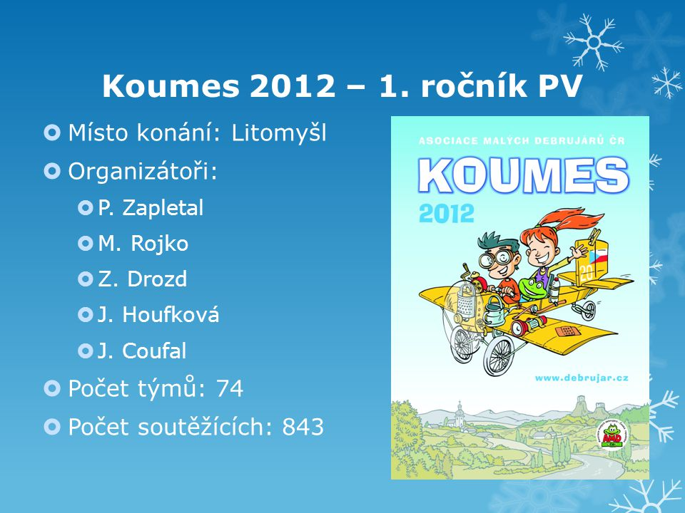 Koumes 2012 – 1. ročník PV  Místo konání: Litomyšl  Organizátoři:  P. Zapletal  M. Rojko  Z. Drozd  J. Houfková  J. Coufal  Počet týmů: 74  P