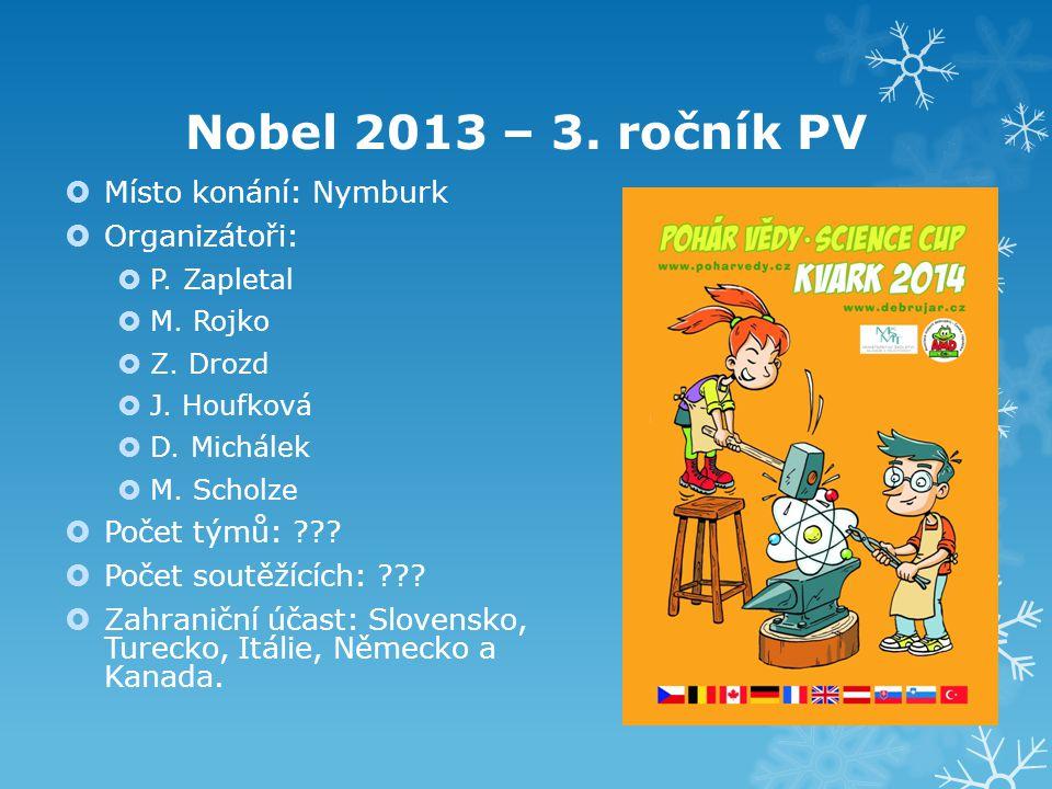 Nobel 2013 – 3. ročník PV  Místo konání: Nymburk  Organizátoři:  P. Zapletal  M. Rojko  Z. Drozd  J. Houfková  D. Michálek  M. Scholze  Počet