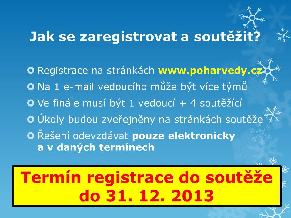 Jak se zaregistrovat a soutěžit?  Registrace na stránkách www.poharvedy.cz  Na 1 e-mail vedoucího může být více týmů  Ve finále musí být 1 vedoucí