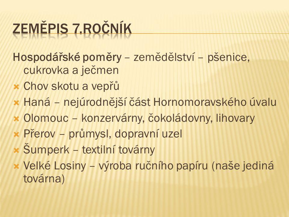 Hospodářské poměry – zemědělství – pšenice, cukrovka a ječmen  Chov skotu a vepřů  Haná – nejúrodnější část Hornomoravského úvalu  Olomouc – konzer