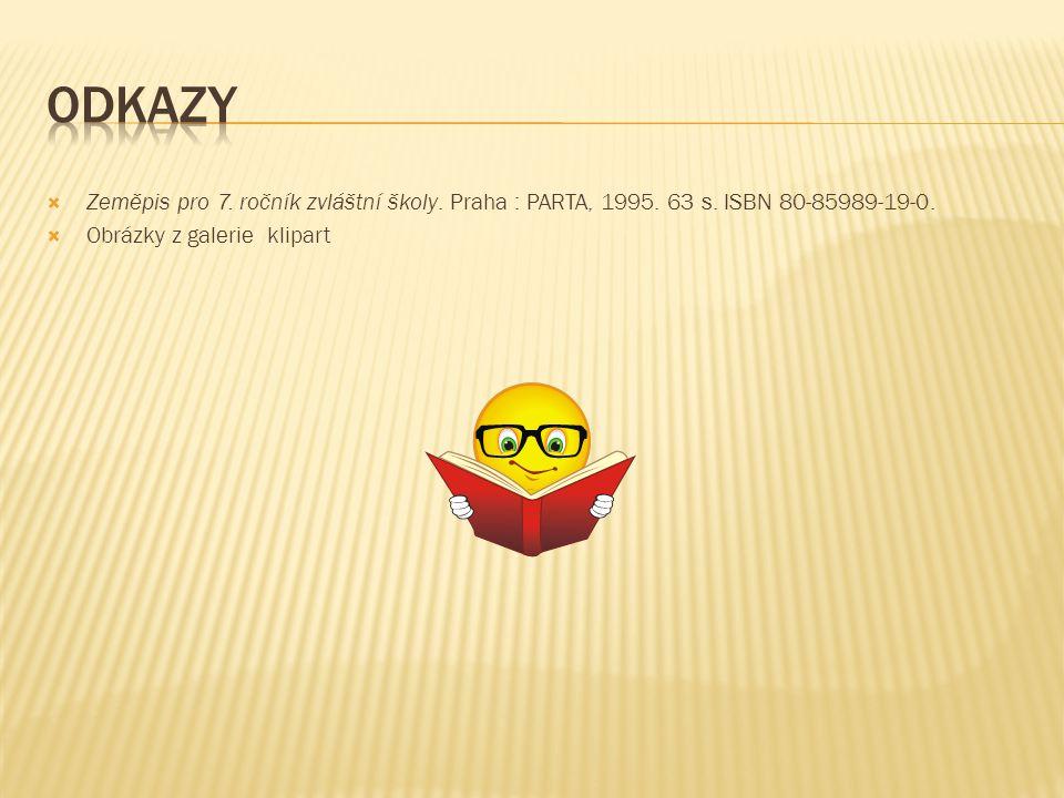  Zeměpis pro 7. ročník zvláštní školy. Praha : PARTA, 1995. 63 s. ISBN 80-85989-19-0.  Obrázky z galerie klipart