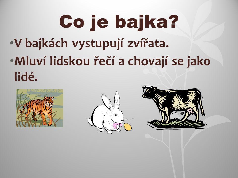 Co je bajka? V bajkách vystupují zvířata. Mluví lidskou řečí a chovají se jako lidé.