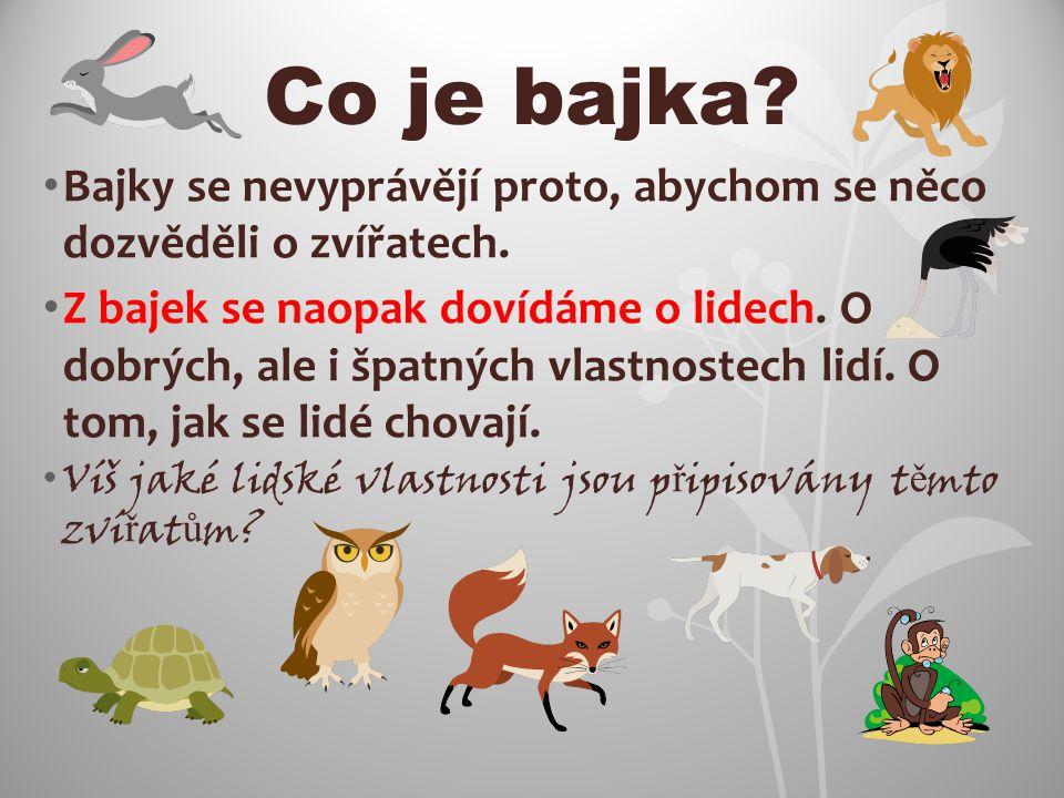 Co je bajka.Bajky se nevyprávějí proto, abychom se něco dozvěděli o zvířatech.